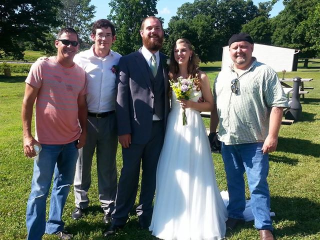 The new Mr. and Mrs. Brown with the guys from Lonesome Highway. Congratulations, you two! We are so excited for you!
