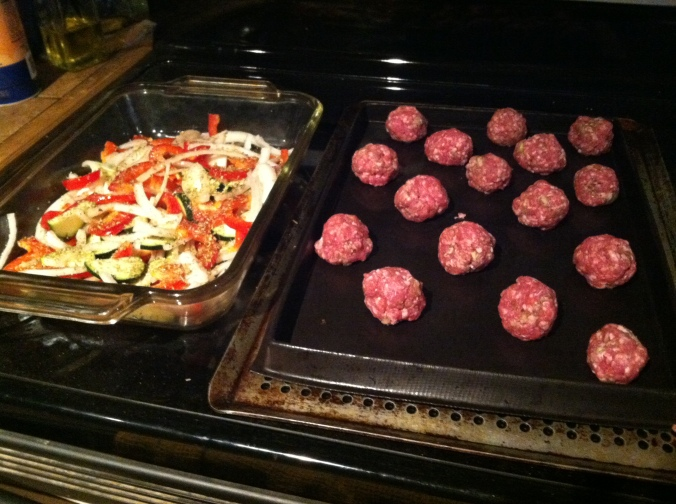 "A ""before"" shot of the lamb meatballs and roasted red peppers and onions. YUM!"