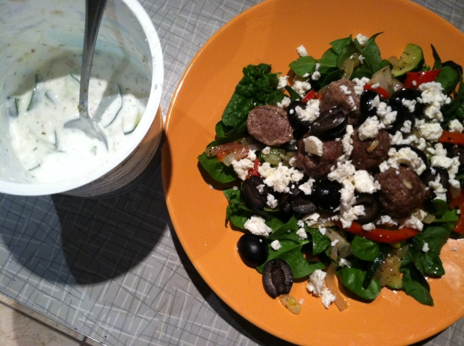 A Greek salad with delicious lamb meatballs courtesy of Taproot Farm.